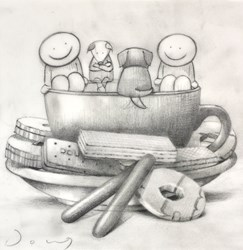 Tea and Biscuits (study) by Doug Hyde - Original Drawing on Mounted Paper sized 7x7 inches. Available from Whitewall Galleries